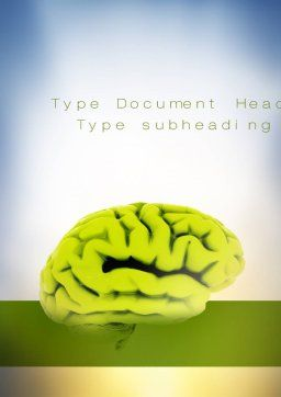 Cerebral Cortex Word Template, Cover Page, 10815, Medical — PoweredTemplate.com