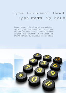 Telephone Number Buttons Word Template, Cover Page, 10826, Telecommunication — PoweredTemplate.com