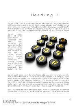 Telephone Number Buttons Word Template, First Inner Page, 10826, Telecommunication — PoweredTemplate.com