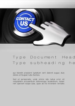 Contact Us Button Word Template, Cover Page, 10830, Careers/Industry — PoweredTemplate.com