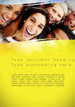 Group of Happy People Word Template Cover Page