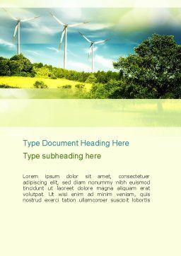 Wind Word Template, Cover Page, 10835, Technology, Science & Computers — PoweredTemplate.com
