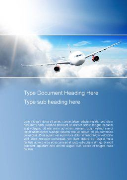 Sky Plane Word Template, Cover Page, 10836, Cars/Transportation — PoweredTemplate.com