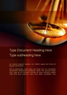 Scales of Justice Word Template, Cover Page, 10837, Legal — PoweredTemplate.com