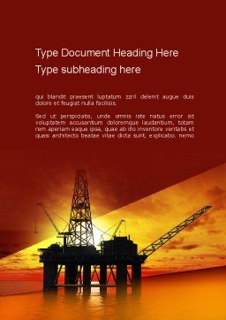 Oil Rig Word Template, Cover Page, 10846, Utilities/Industrial — PoweredTemplate.com