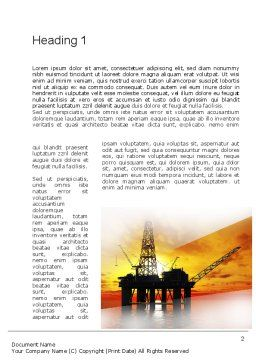 Oil Rig Word Template, First Inner Page, 10846, Utilities/Industrial — PoweredTemplate.com