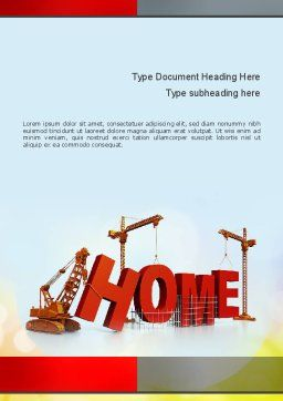 Building Home Concept Word Template, Cover Page, 10852, Careers/Industry — PoweredTemplate.com