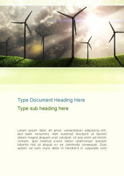 Wind Turbine Word Template, Cover Page, 10872, Technology, Science & Computers — PoweredTemplate.com