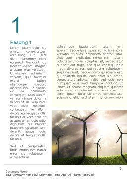Wind Turbine Word Template, First Inner Page, 10872, Technology, Science & Computers — PoweredTemplate.com