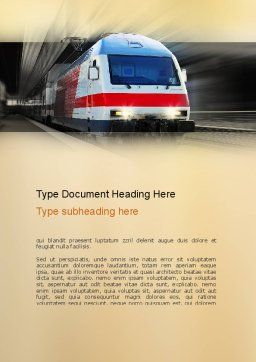 Electric Locomotive Word Template, Cover Page, 10874, Cars/Transportation — PoweredTemplate.com