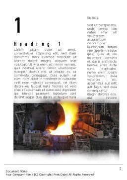 Steel Mill Word Template, First Inner Page, 10883, Utilities/Industrial — PoweredTemplate.com