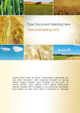 Wheat Cultivation Word Template, Cover Page, 10884, Agriculture and Animals — PoweredTemplate.com