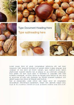 Nuts Collage Word Template, Cover Page, 10898, Food & Beverage — PoweredTemplate.com