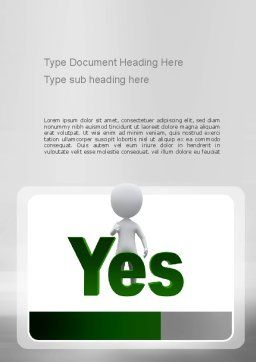 Yes Word Template, Cover Page, 10903, Business Concepts — PoweredTemplate.com