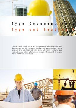 Construction Collage Word Template, Cover Page, 10923, Construction — PoweredTemplate.com
