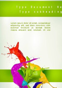 Paint Splash Word Template Cover Page