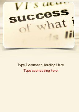 Definition of Success Word Template, Cover Page, 10930, Education & Training — PoweredTemplate.com