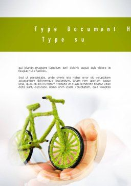 Green Bicycle Word Template Cover Page