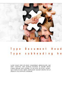 Human Faces Puzzle Word Template Cover Page