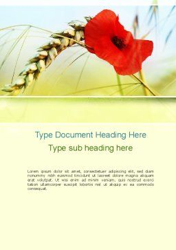 Poppy in Wheat Word Template, Cover Page, 10953, Agriculture and Animals — PoweredTemplate.com