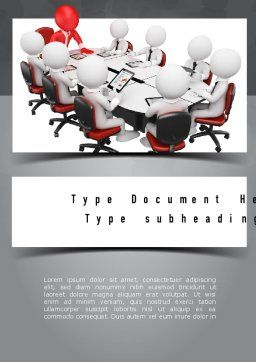 3D Man Business Meeting Word Template, Cover Page, 10984, Business — PoweredTemplate.com