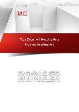 Maze Exit Sign Word Template, Cover Page, 10986, Consulting — PoweredTemplate.com
