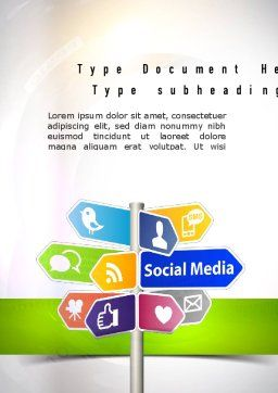 Social Media Signs Word Template, Cover Page, 10992, Careers/Industry — PoweredTemplate.com