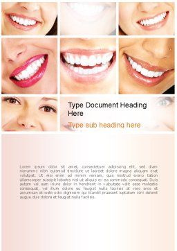 Dental Smile Word Template, Cover Page, 11003, Medical — PoweredTemplate.com