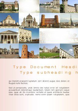 Turin Landmarks Collage Word Template Cover Page