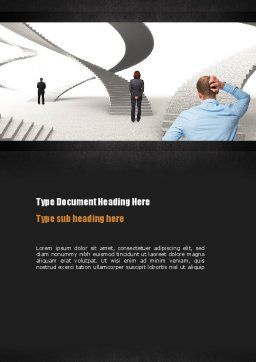 Stairway To Solution Word Template, Cover Page, 11013, Education & Training — PoweredTemplate.com