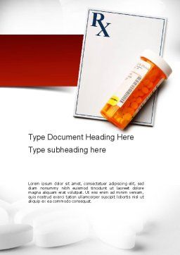 Prescription Drugs RX Word Template, Cover Page, 11020, Medical — PoweredTemplate.com