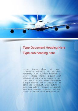 Jet Aircraft Word Template, Cover Page, 11030, Cars/Transportation — PoweredTemplate.com