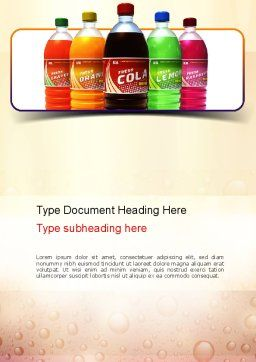 Cola Word Template, Cover Page, 11032, Food & Beverage — PoweredTemplate.com
