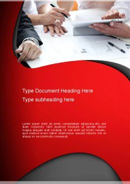 Working Process at Business Meeting Word Template, Cover Page, 11045, Business — PoweredTemplate.com