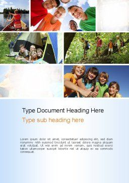 Summer Camp Fun Word Template, Cover Page, 11048, Education & Training — PoweredTemplate.com