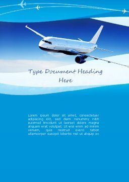 Airplane in the Sky Word Template, Cover Page, 11052, Cars/Transportation — PoweredTemplate.com