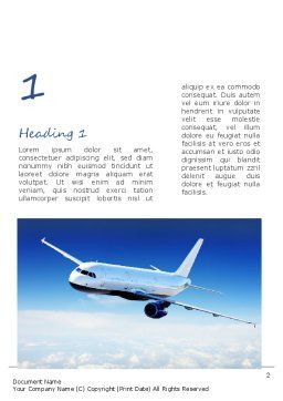 Airplane in the Sky Word Template, First Inner Page, 11052, Cars/Transportation — PoweredTemplate.com