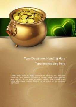 Pot of Gold Coins Word Template, Cover Page, 11059, Holiday/Special Occasion — PoweredTemplate.com