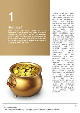 Pot of Gold Coins Word Template, First Inner Page, 11059, Holiday/Special Occasion — PoweredTemplate.com