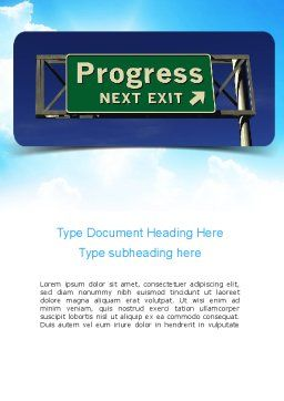 Progress Freeway Sign Word Template, Cover Page, 11066, Consulting — PoweredTemplate.com