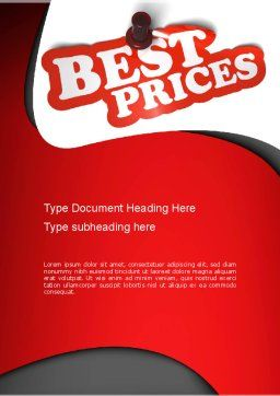 Best Prices Word Template Cover Page