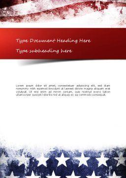 Painted American Flag Word Template, Cover Page, 11089, America — PoweredTemplate.com