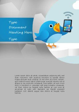 Tweeting Word Template, Cover Page, 11093, Telecommunication — PoweredTemplate.com
