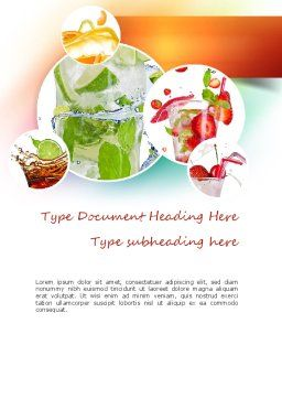 Refreshing Drinks Word Template, Cover Page, 11094, Food & Beverage — PoweredTemplate.com