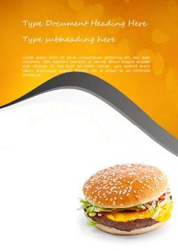 Tasty Burger Word Template, Cover Page, 11097, Food & Beverage — PoweredTemplate.com