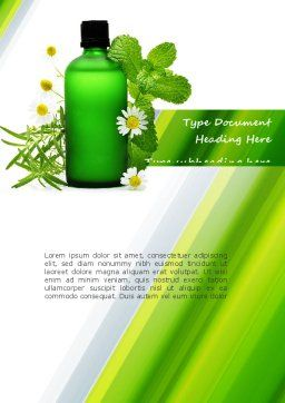 Essential Oil Word Template, Cover Page, 11099, Careers/Industry — PoweredTemplate.com