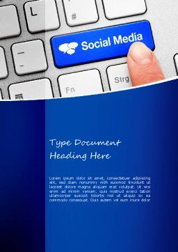 Social Media Keyboard Word Template, Cover Page, 11100, Telecommunication — PoweredTemplate.com