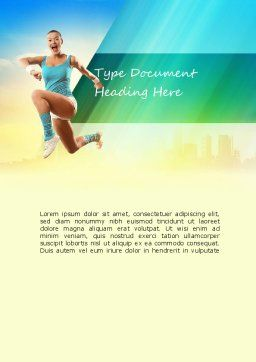 Girl Running Word Template, Cover Page, 11109, Sports — PoweredTemplate.com
