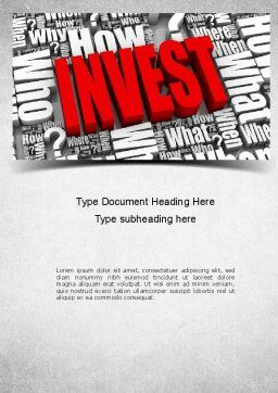Investments Word Template, Cover Page, 11136, Financial/Accounting — PoweredTemplate.com