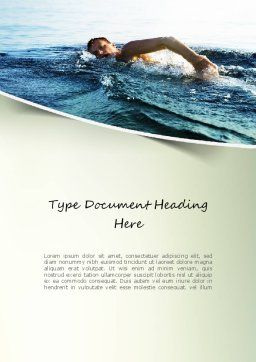 Ocean Swimmer Word Template, Cover Page, 11150, Sports — PoweredTemplate.com